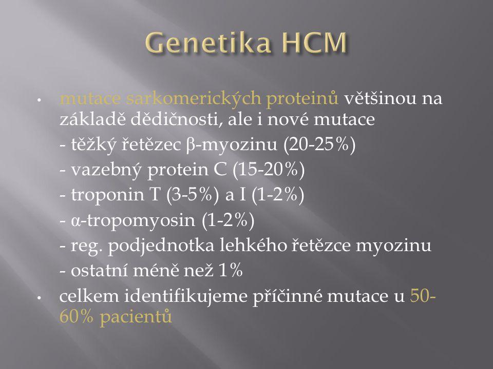 Genetika HCM mutace sarkomerických proteinů většinou na základě dědičnosti, ale i nové mutace. - těžký řetězec β-myozinu (20-25%)