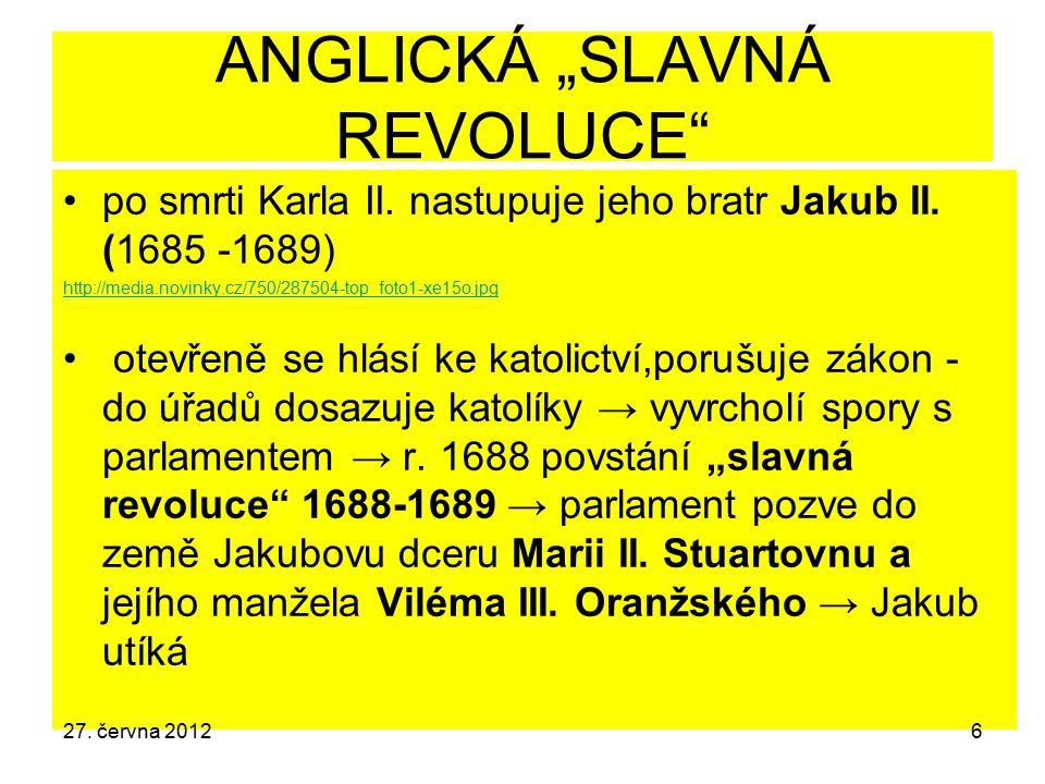 """ANGLICKÁ """"SLAVNÁ REVOLUCE"""