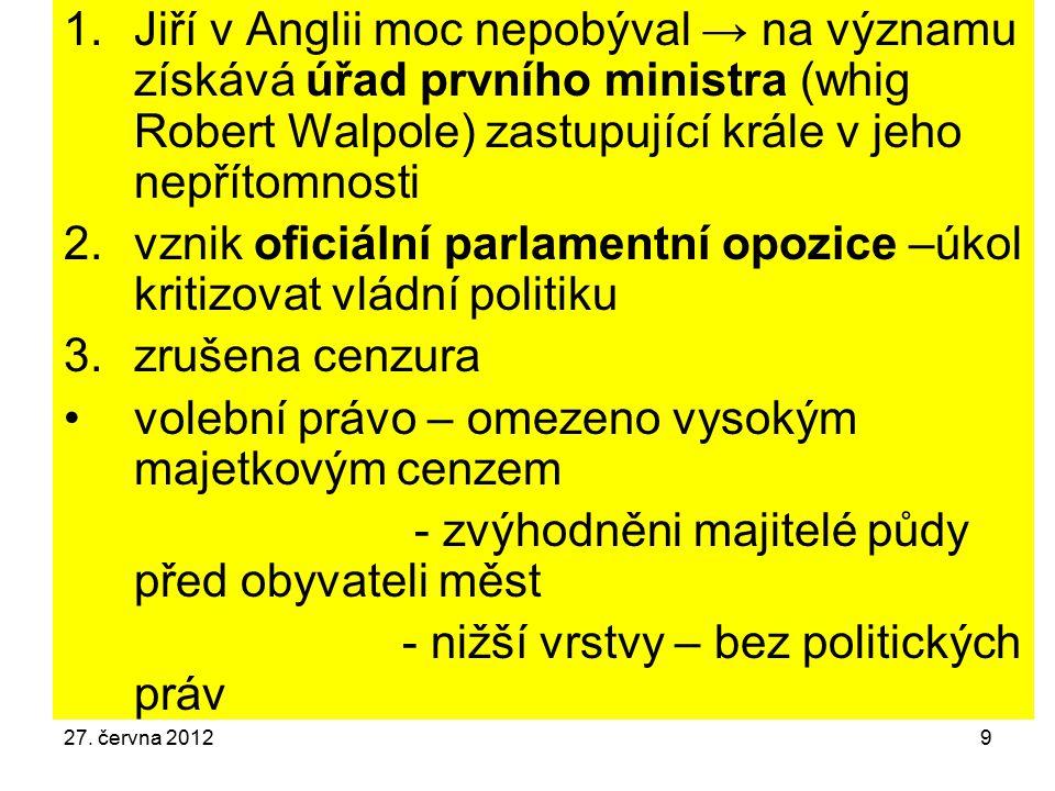 vznik oficiální parlamentní opozice –úkol kritizovat vládní politiku