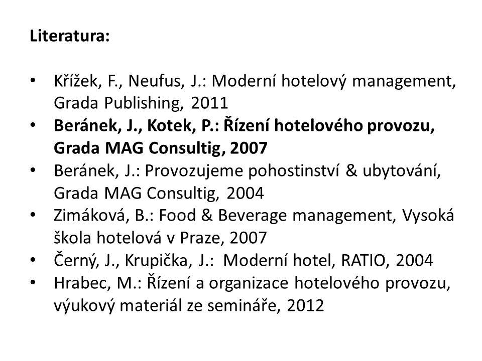 Literatura: Křížek, F., Neufus, J.: Moderní hotelový management, Grada Publishing, 2011.