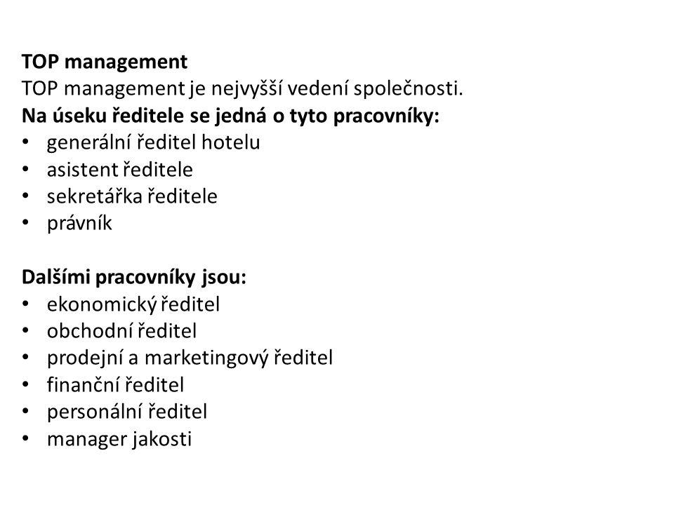 TOP management TOP management je nejvyšší vedení společnosti. Na úseku ředitele se jedná o tyto pracovníky: