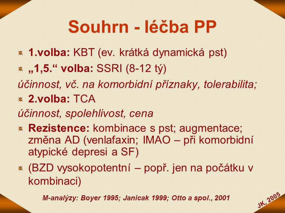 Souhrn - léčba PP 1.volba: KBT (ev. krátká dynamická pst)
