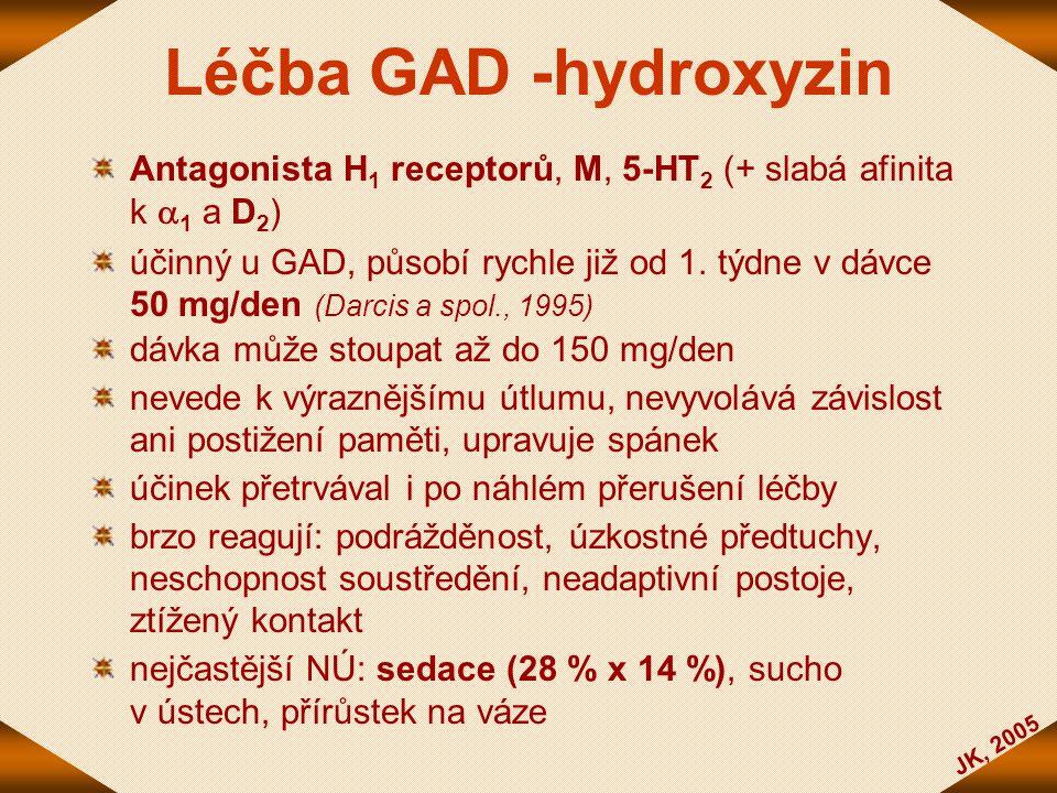 Léčba GAD -hydroxyzin Antagonista H1 receptorů, M, 5-HT2 (+ slabá afinita k 1 a D2)