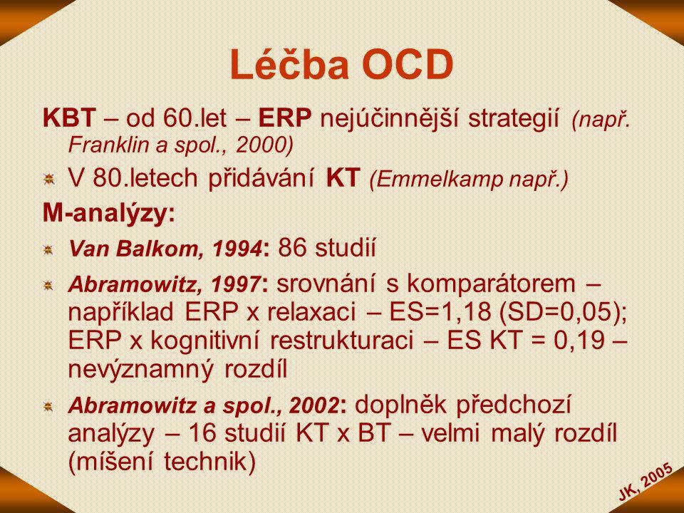 Léčba OCD KBT – od 60.let – ERP nejúčinnější strategií (např. Franklin a spol., 2000) V 80.letech přidávání KT (Emmelkamp např.)