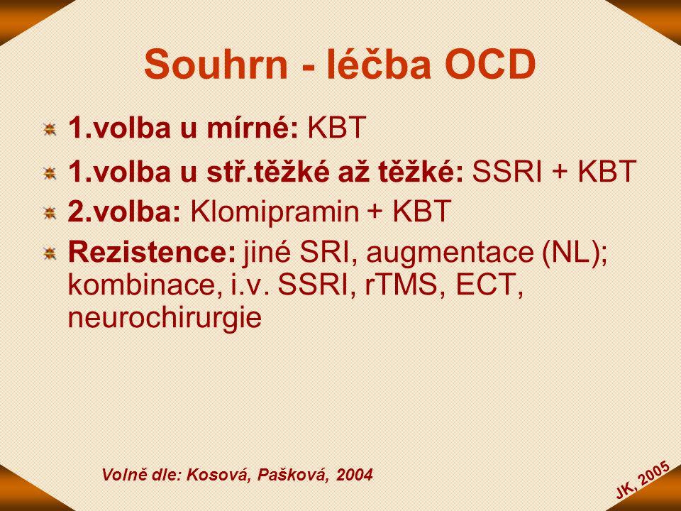 Souhrn - léčba OCD 1.volba u mírné: KBT