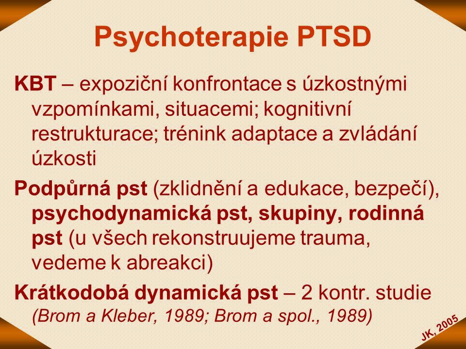Psychoterapie PTSD KBT – expoziční konfrontace s úzkostnými vzpomínkami, situacemi; kognitivní restrukturace; trénink adaptace a zvládání úzkosti.