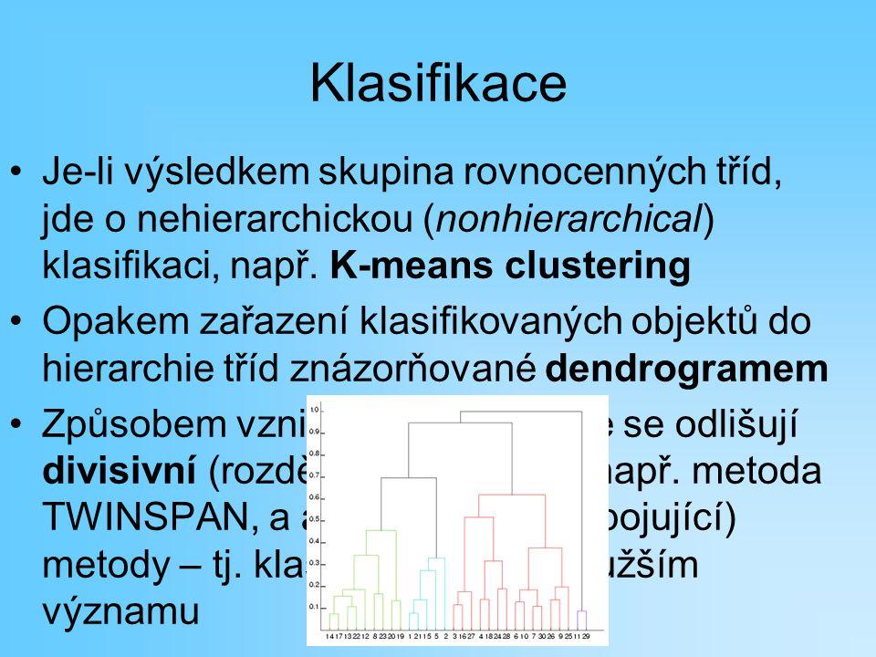 Klasifikace Je-li výsledkem skupina rovnocenných tříd, jde o nehierarchickou (nonhierarchical) klasifikaci, např. K-means clustering.