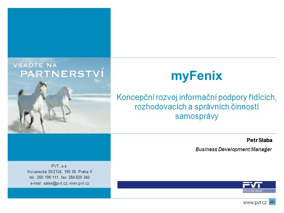 myFenix Koncepční rozvoj informační podpory řídících,