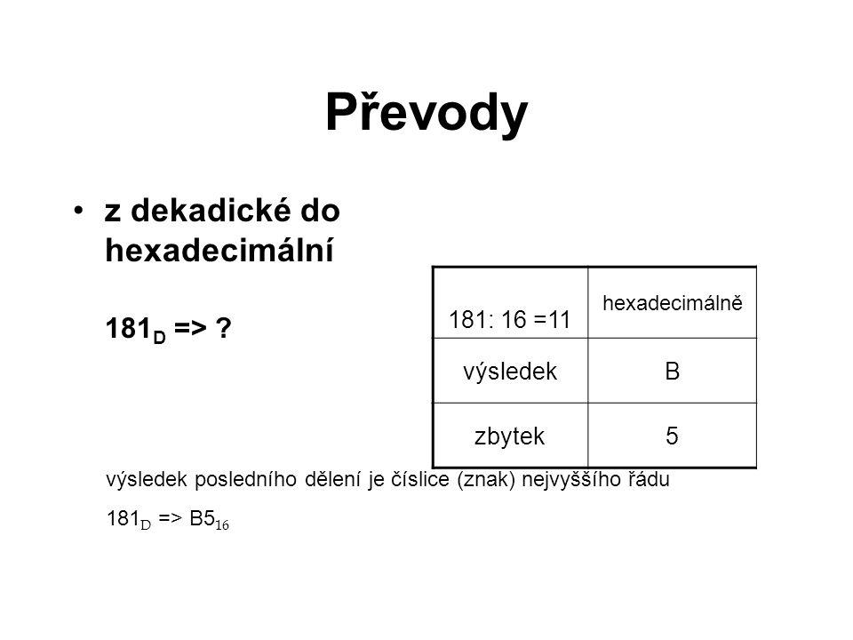 Převody z dekadické do hexadecimální 181D => 181: 16 =11 výsledek