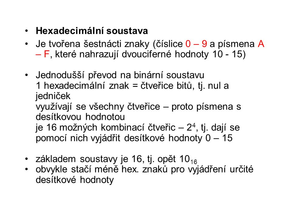 Hexadecimální soustava