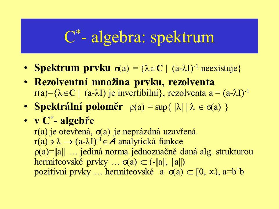 C*- algebra: spektrum Spektrum prvku (a) = {C | (a-I)-1 neexistuje}