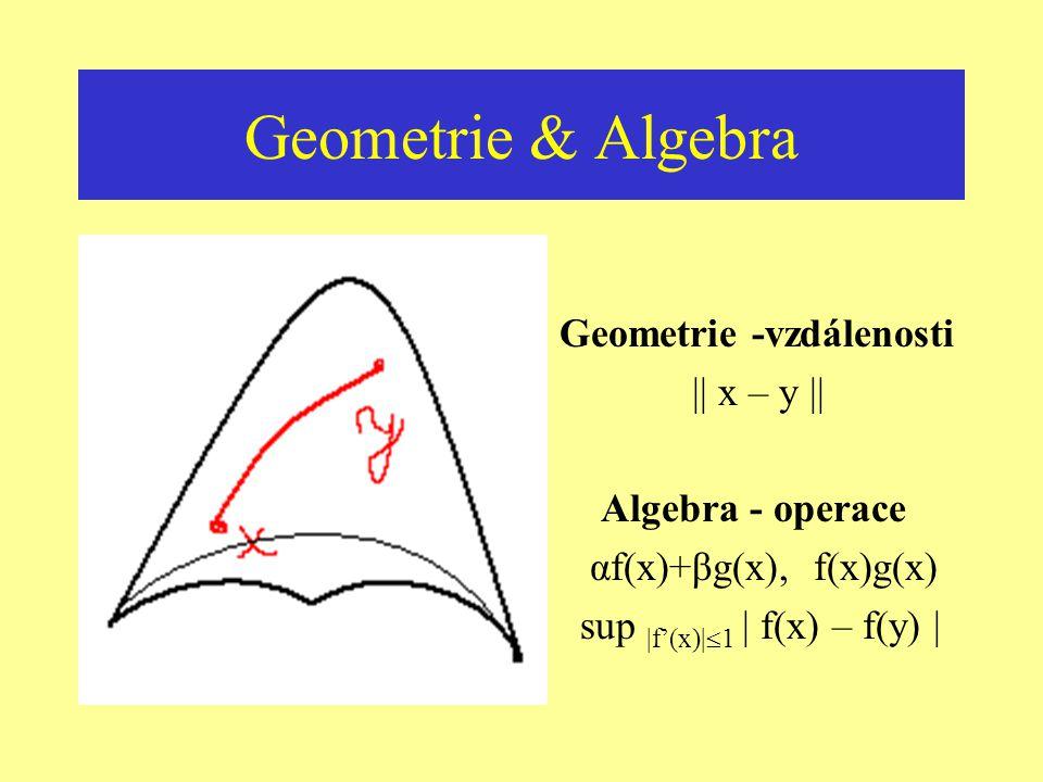 Geometrie & Algebra Geometrie -vzdálenosti || x – y ||