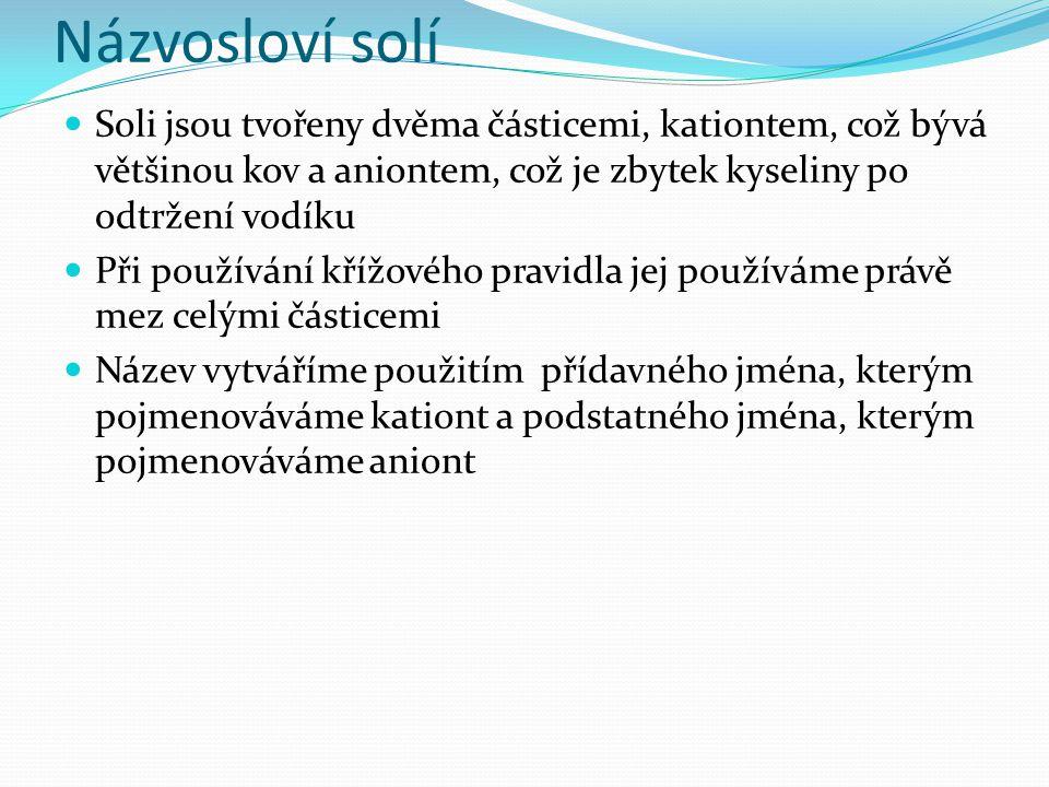 Názvosloví solí Soli jsou tvořeny dvěma částicemi, kationtem, což bývá většinou kov a aniontem, což je zbytek kyseliny po odtržení vodíku.
