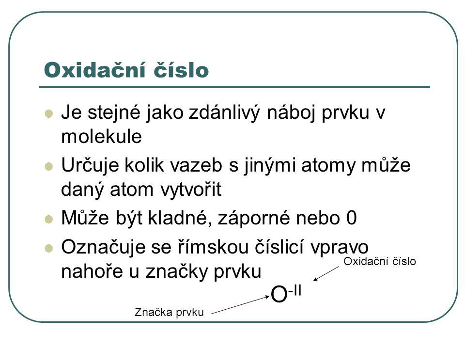 O-II Oxidační číslo Je stejné jako zdánlivý náboj prvku v molekule