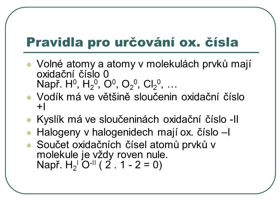 Pravidla pro určování ox. čísla