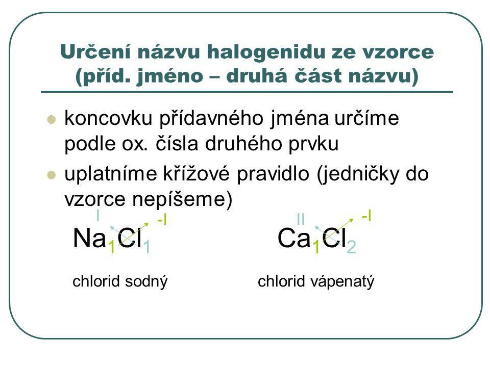 Určení názvu halogenidu ze vzorce (příd. jméno – druhá část názvu)