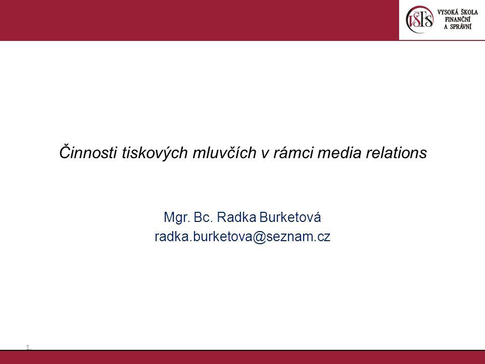Činnosti tiskových mluvčích v rámci media relations