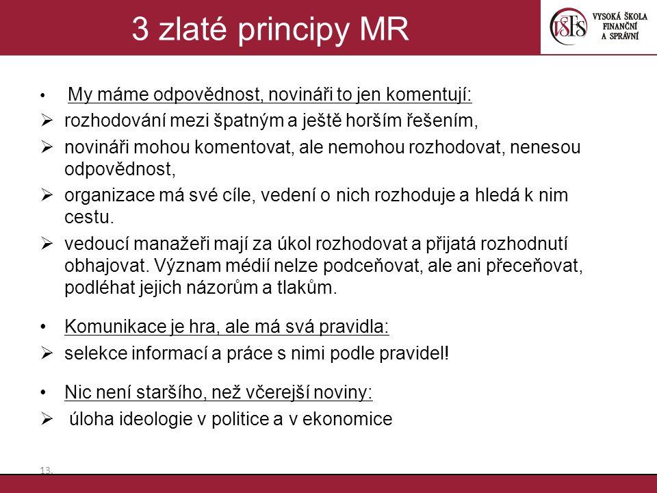 3 zlaté principy MR rozhodování mezi špatným a ještě horším řešením,
