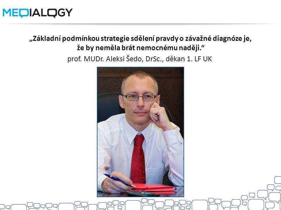 """""""Základní podmínkou strategie sdělení pravdy o závažné diagnóze je, že by neměla brát nemocnému naději. prof."""