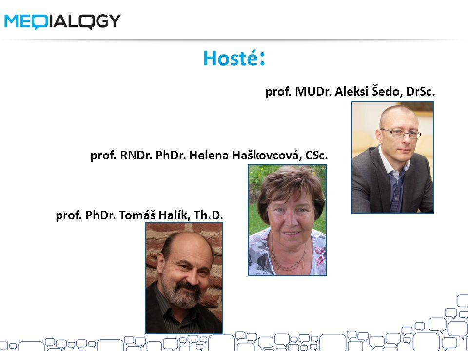 Hosté: prof. MUDr. Aleksi Šedo, DrSc.