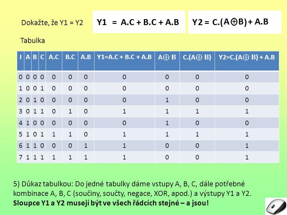 Sloupce Y1 a Y2 musejí být ve všech řádcích stejné – a jsou!