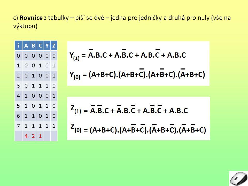 c) Rovnice z tabulky – píší se dvě – jedna pro jedničky a druhá pro nuly (vše na výstupu)