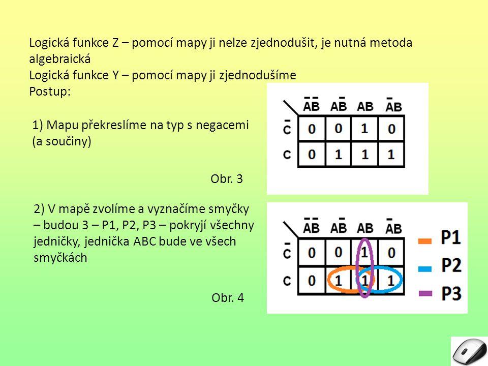 Logická funkce Z – pomocí mapy ji nelze zjednodušit, je nutná metoda algebraická