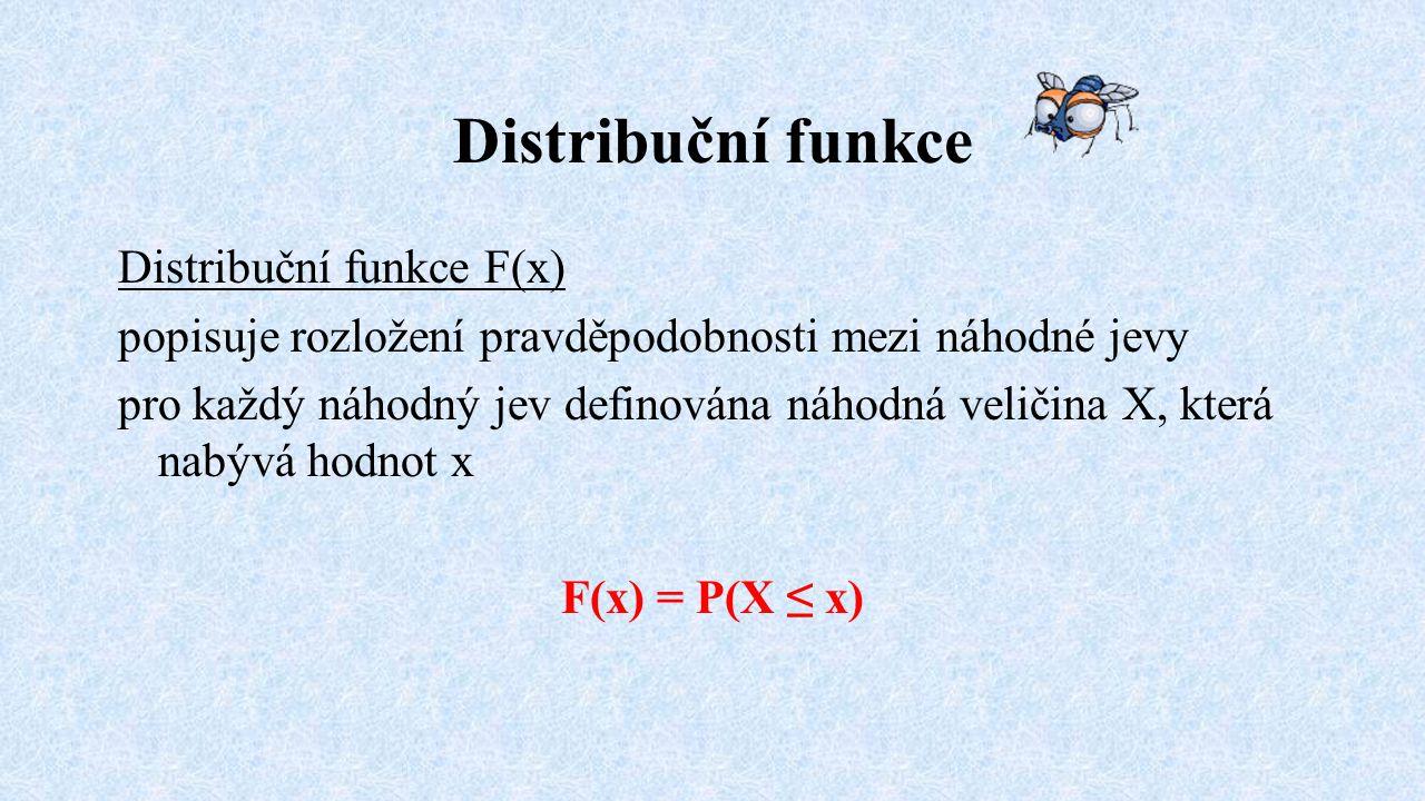 Distribuční funkce Distribuční funkce F(x)