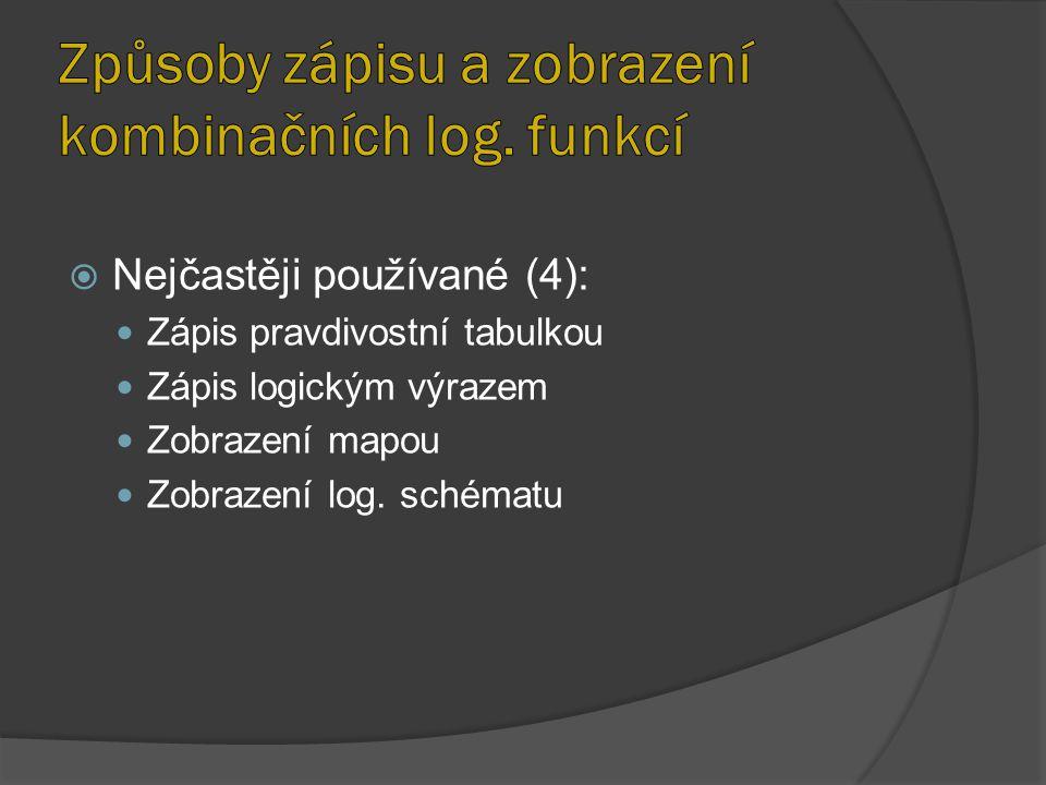 Způsoby zápisu a zobrazení kombinačních log. funkcí