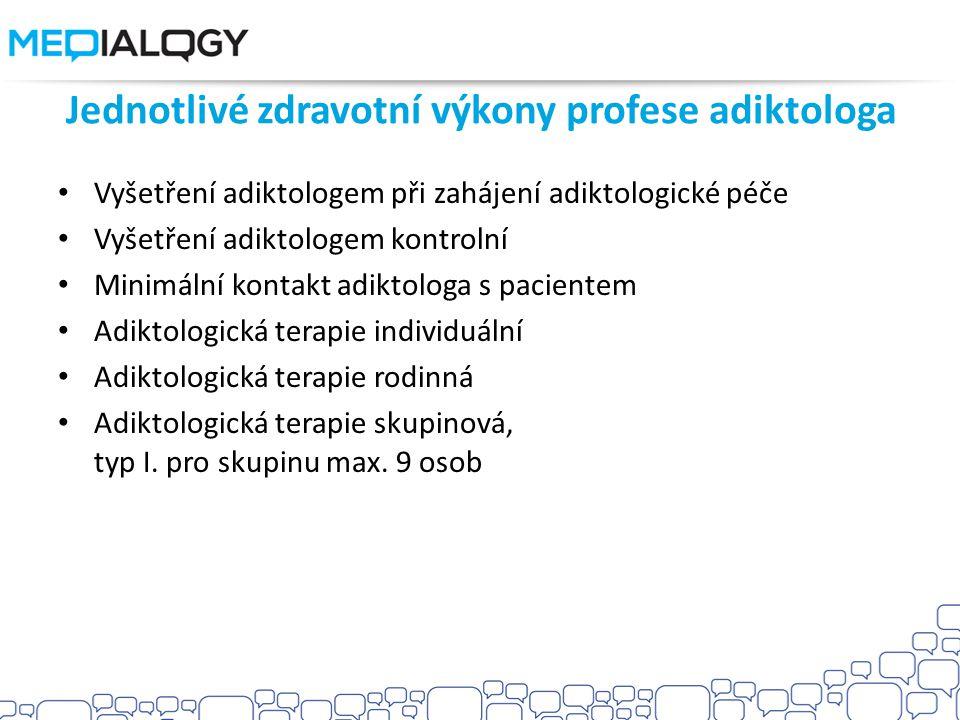 Jednotlivé zdravotní výkony profese adiktologa