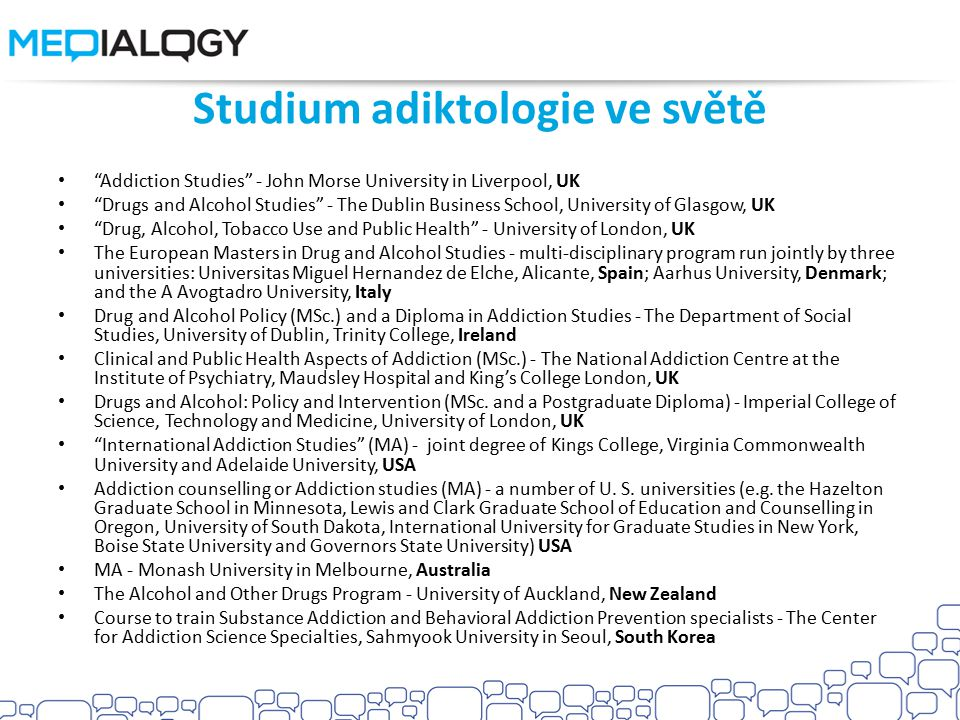 Studium adiktologie ve světě
