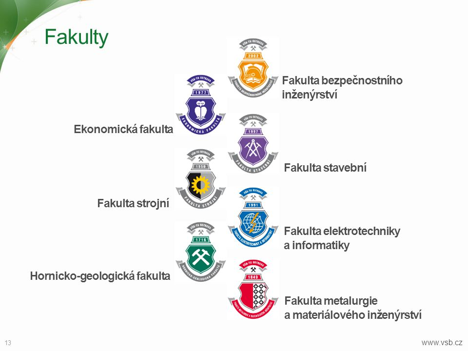 Fakulty Fakulta bezpečnostního inženýrství Ekonomická fakulta