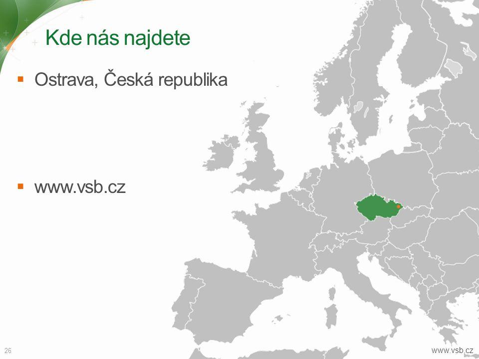 Kde nás najdete Ostrava, Česká republika www.vsb.cz www.vsb.cz