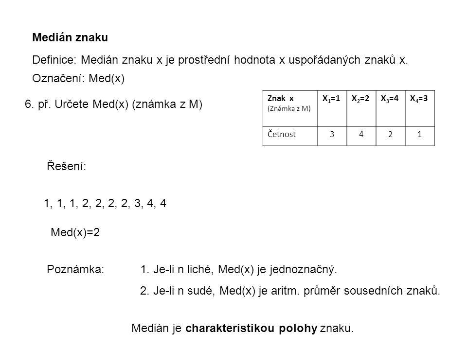 Definice: Medián znaku x je prostřední hodnota x uspořádaných znaků x.