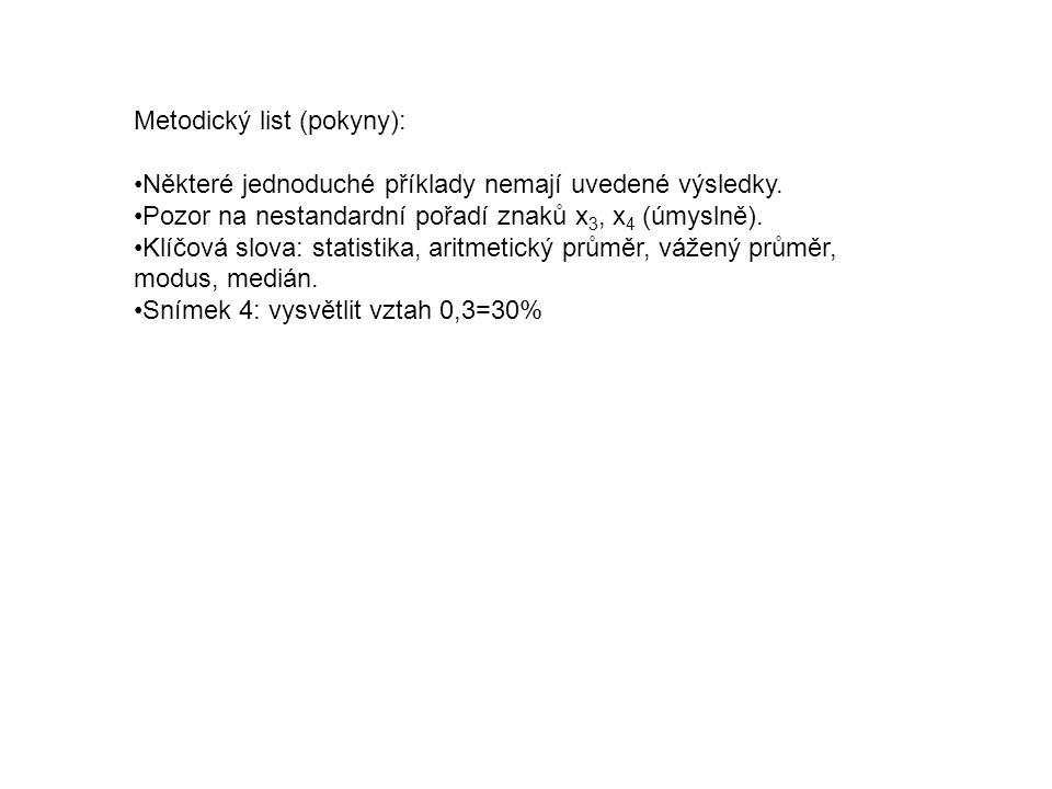 Metodický list (pokyny):