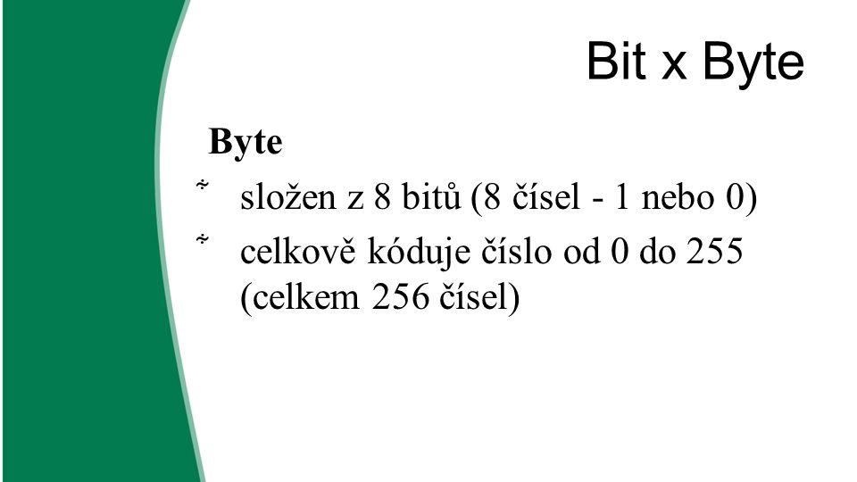 Bit x Byte Byte složen z 8 bitů (8 čísel - 1 nebo 0)
