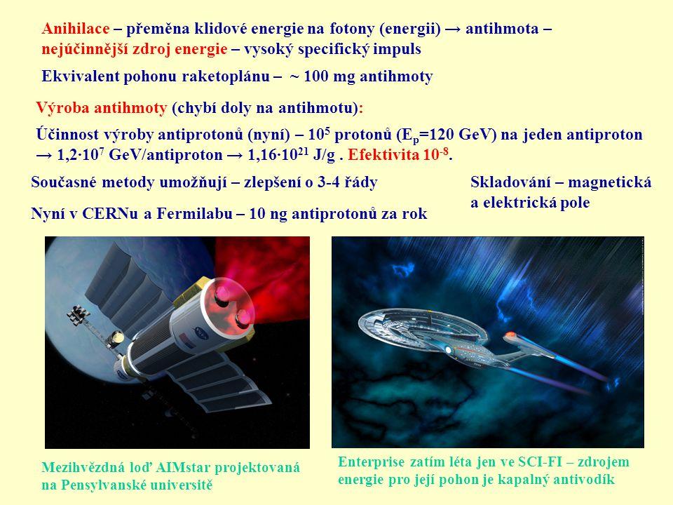 Ekvivalent pohonu raketoplánu – ~ 100 mg antihmoty