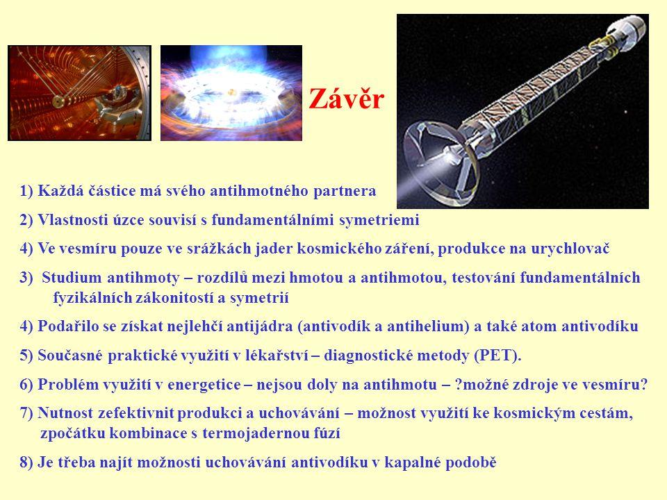 Závěr 1) Každá částice má svého antihmotného partnera