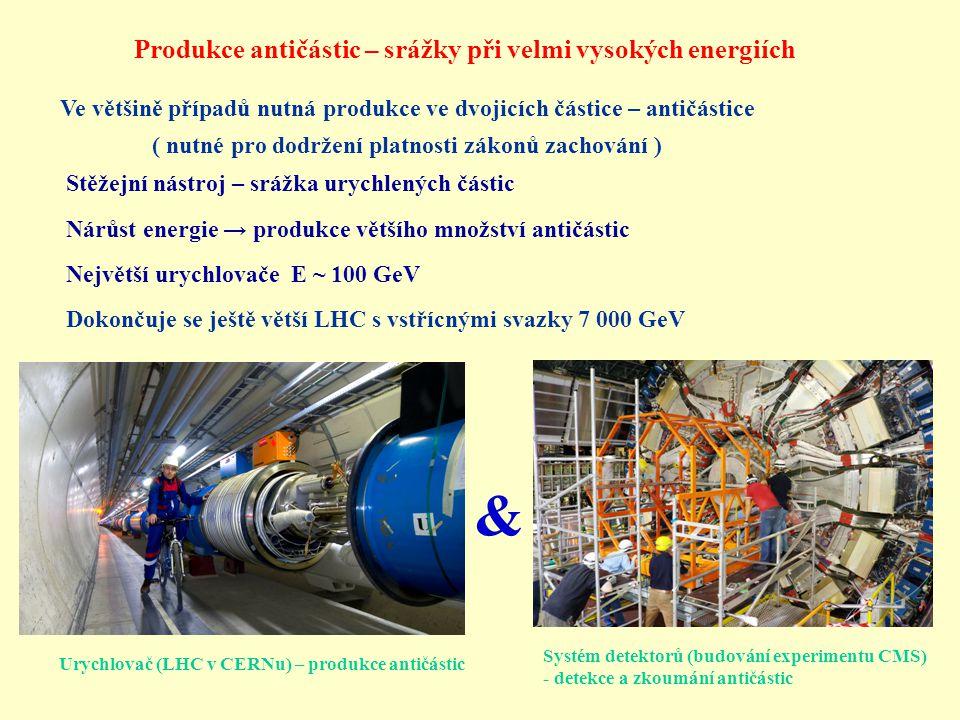 & Produkce antičástic – srážky při velmi vysokých energiích