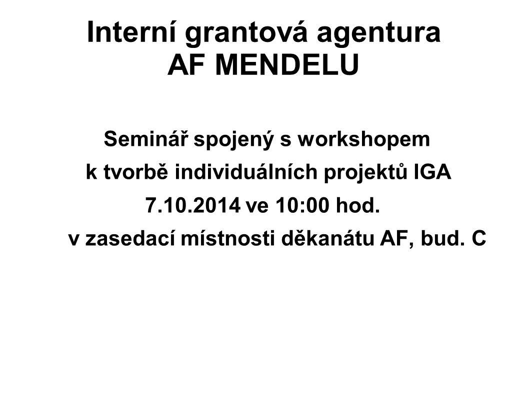 Interní grantová agentura AF MENDELU