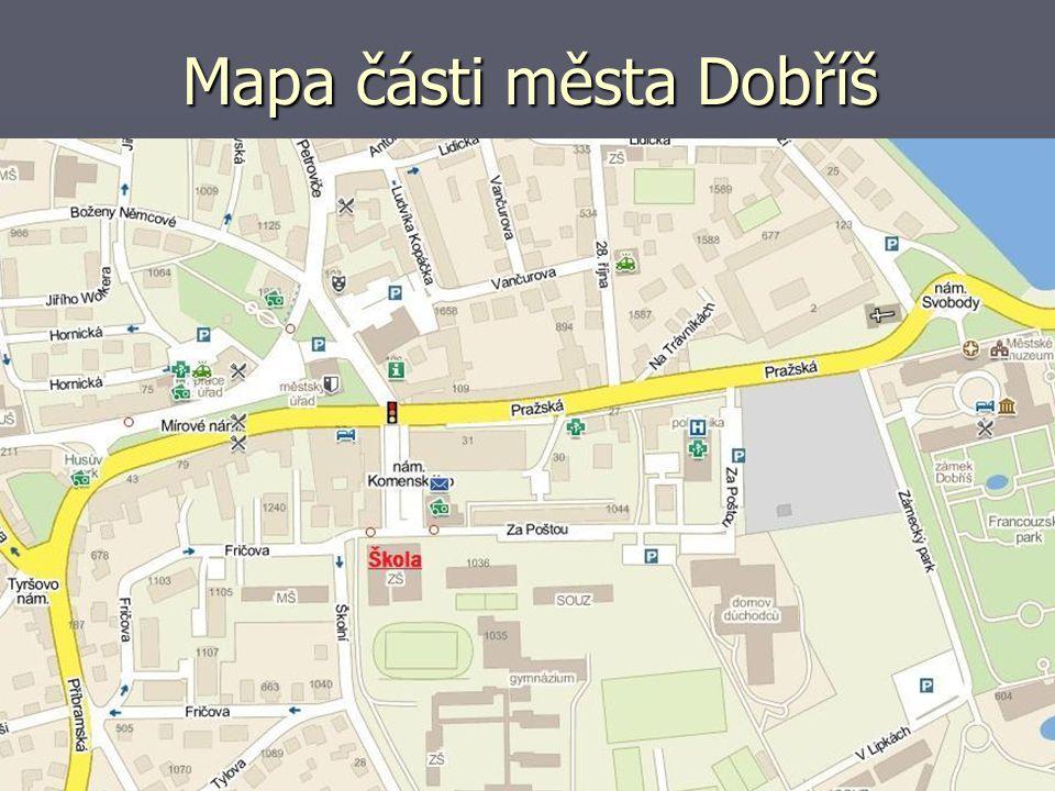 Mapa části města Dobříš