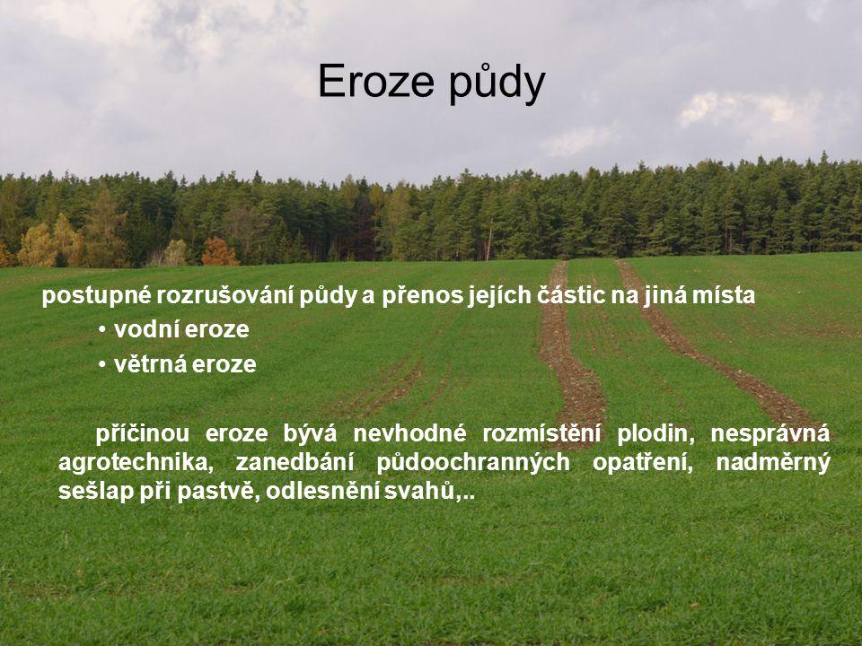 Eroze půdy postupné rozrušování půdy a přenos jejích částic na jiná místa. vodní eroze. větrná eroze.