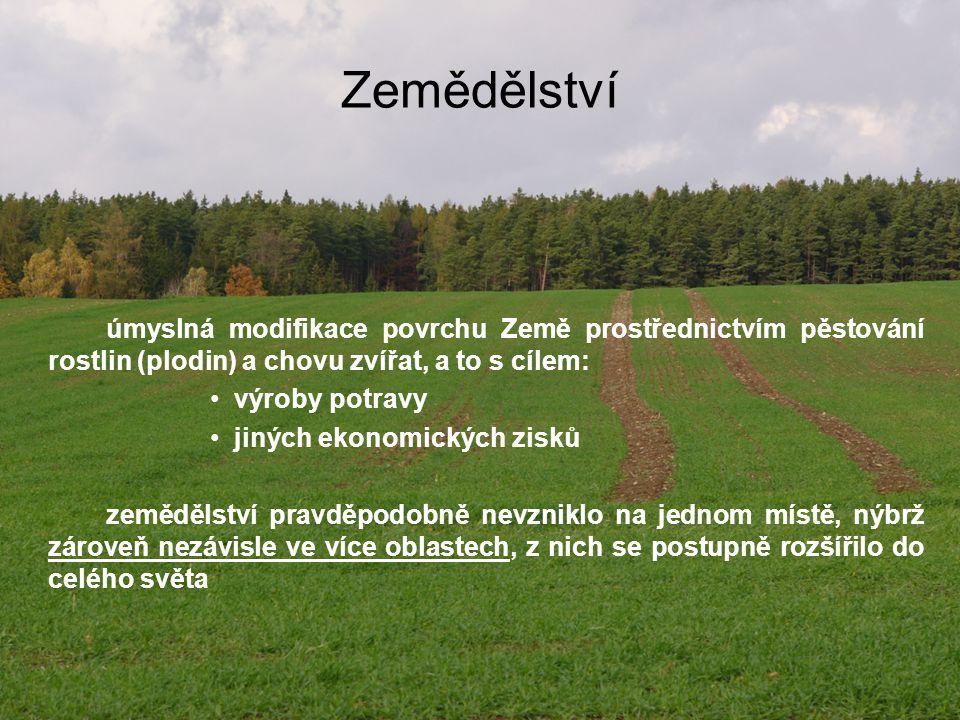 Zemědělství úmyslná modifikace povrchu Země prostřednictvím pěstování rostlin (plodin) a chovu zvířat, a to s cílem: