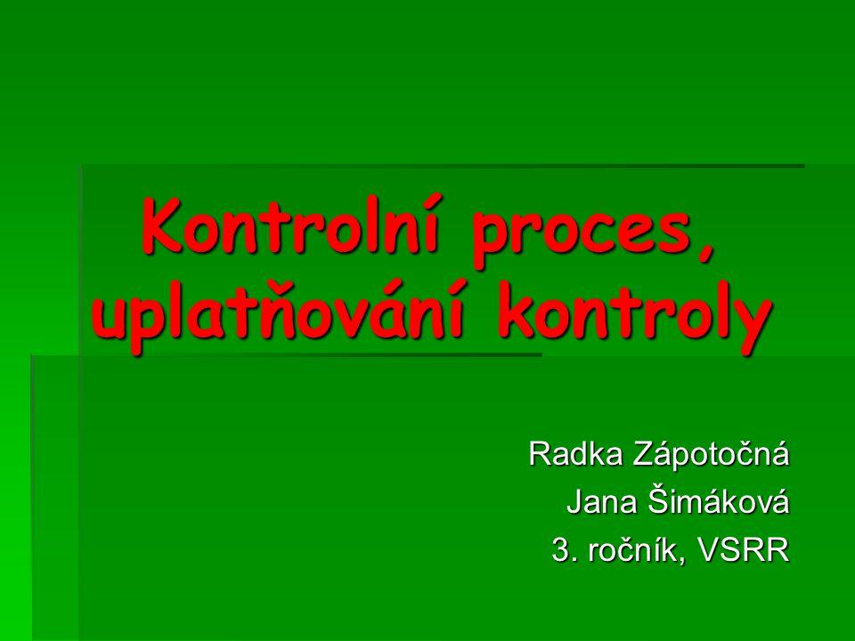Kontrolní proces, uplatňování kontroly