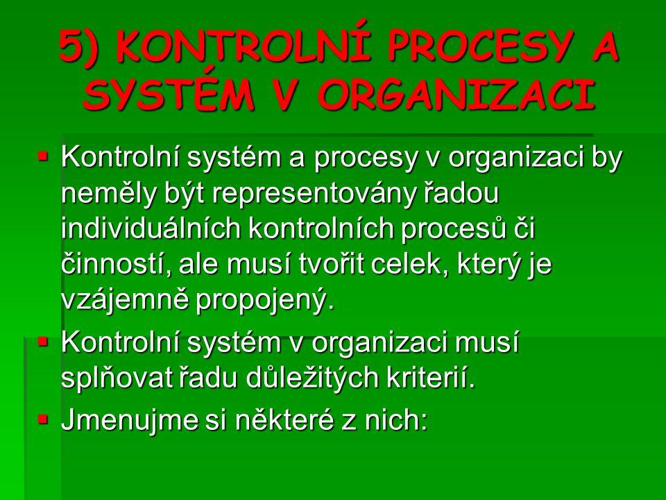 5) KONTROLNÍ PROCESY A SYSTÉM V ORGANIZACI