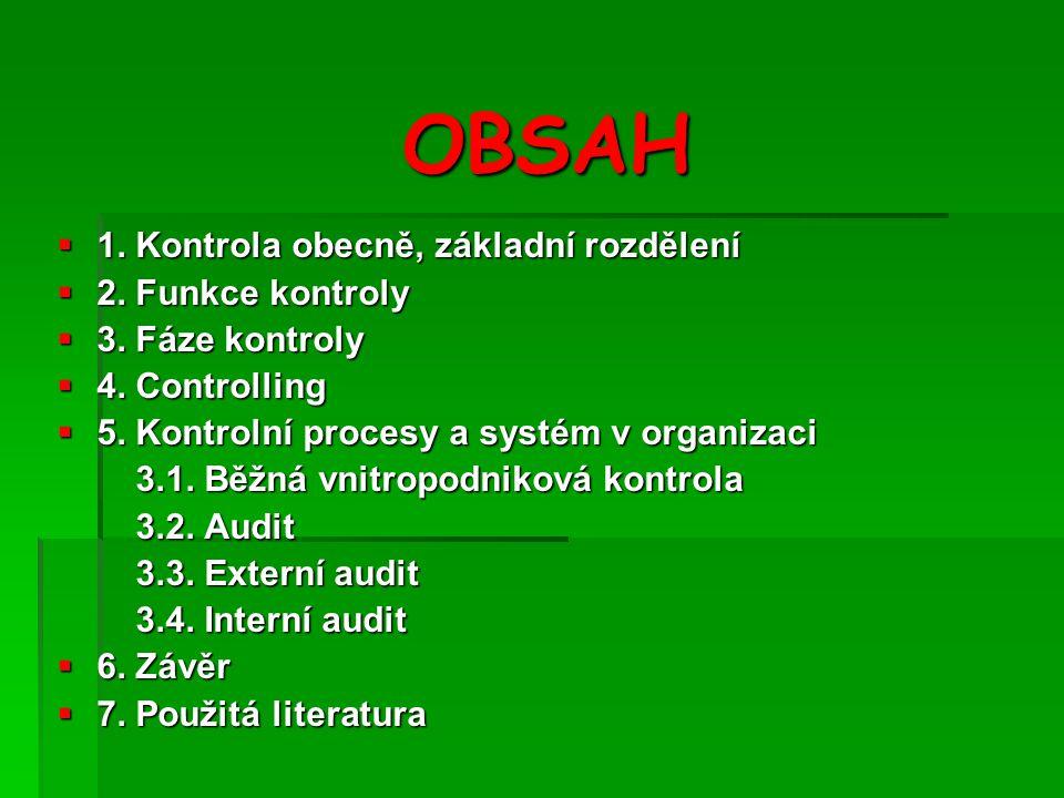 OBSAH 1. Kontrola obecně, základní rozdělení 2. Funkce kontroly