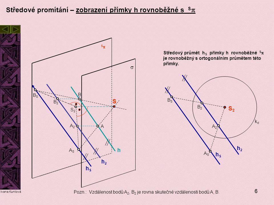 Středové promítání – zobrazení přímky h rovnoběžné s Sp