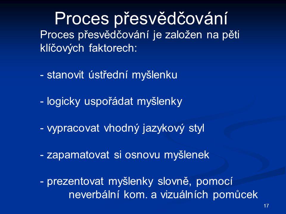 Proces přesvědčování Proces přesvědčování je založen na pěti klíčových faktorech: stanovit ústřední myšlenku.