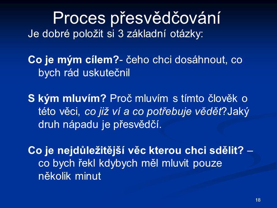 Proces přesvědčování Je dobré položit si 3 základní otázky: