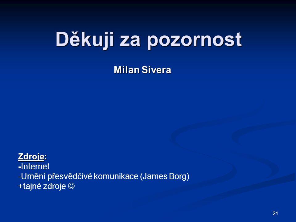Děkuji za pozornost Milan Sivera Zdroje: -Internet